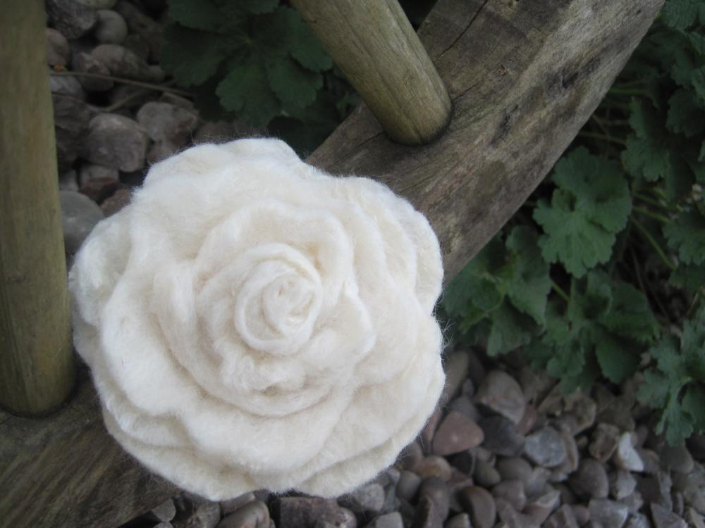 White Merino and Silk Flower