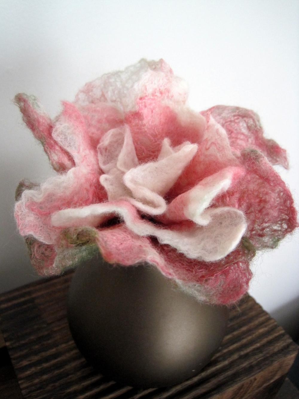 Pink and White Merino and Silk Flower