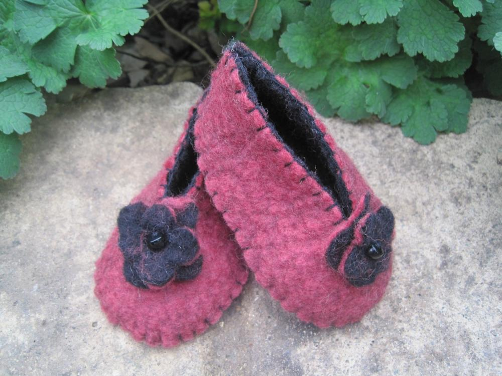 Pink Berry and Black Baby Girl Booties